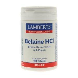 Betaína HCI 324 mg y Pepsina 5 mg en tabletas – Lamberts