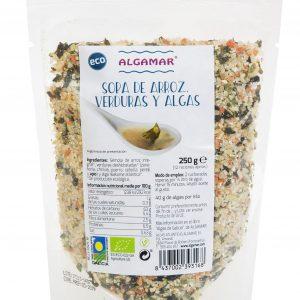 Sopa de Arroz, verduras y Algas