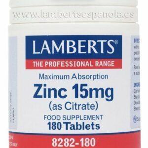 Zinc 15 mg como Citrato con mayor absorción y 180 tabletas