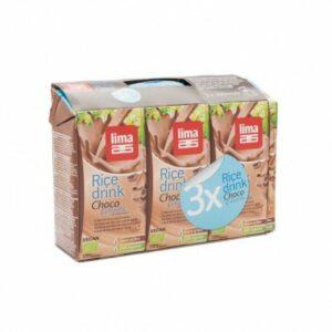 Bebida de arroz rice drink choco Lima 3 x 200 ml