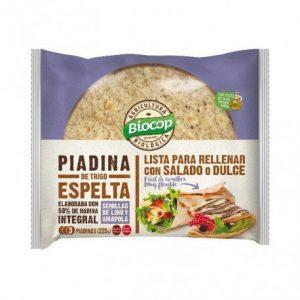 Piadina de trigo Espelta 50% integral Lino-Amapola Biocop 225 gr.