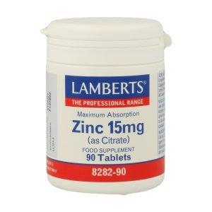 Zinc 15 mg como Citrato con mayor absorción y 90 tabletas – Lamberts
