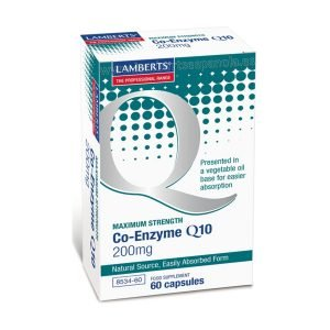 Co-Enzima Q10 200 mg, o Ubiquinona (CoQ10) 60 cápsulas