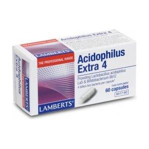 Acidophilus Extra 4 – 60 Caps. 4000 millones de bacterias amigas – Lamberts