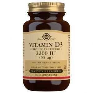 Vitamina D3 2200 UI (55 μg) (Colecalciferol) – 50 Cápsulas vegetales