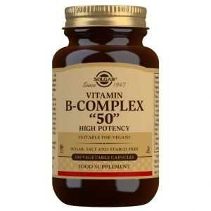 "Vitamina B-Complex ""50"" Alta potencia – 100 Cápsulas vegetales"