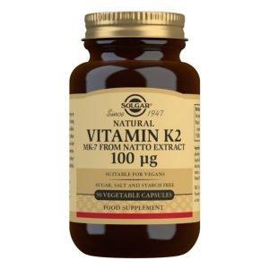 Vitamina K2 100 μg con MK-7 natural (Extracto de Natto) – 50 Cápsulas vegetales
