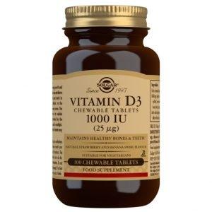 Vitamina D3 1000 UI (25 μg) (Colecalciferol) – 100 comprimidos masticables